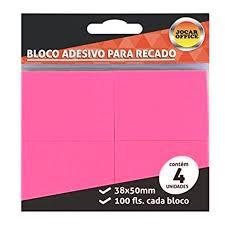 Bloco anotações 38 x 50 100 folhas Jocar Office 91120 rosa Leonora pacote com 4 unid.