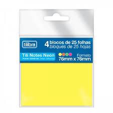 BLOCO ANOTACOES 76 X 76 100 FLS TILI NOTES 242862 NEON AMARELO TILIBRA UND