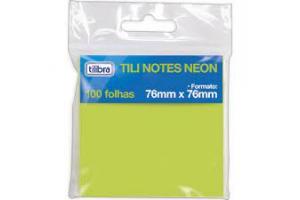 BLOCO ANOTACOES 76 X 76 100 FLS TILI NOTES 242879 NEON VERDE TILIBRA UND