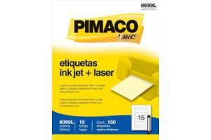 ETIQUETA INKJET E LASER 16,93 MM X 147,64 MM 8099L C/15 ETIQ FLS PIMACO PCT 10 FLS