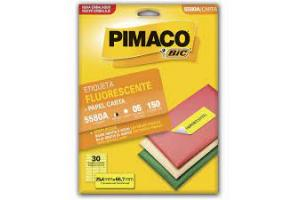 ETIQUETA INKJET E LASER 5580A AMARELO FLUORESCENTE PIMACO PCT 05 FLS