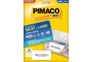 ETIQUETA INKJET E LASER 6083 C/10 ETIQ FLS PIMACO PCT 10 FLS