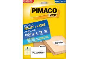 ETIQUETA INKJET E LASER 6095 C/08 ETIQ FLS PIMACO PCT 10 FLS