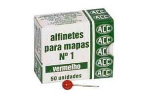 ALFINETE P/ MAPAS N.1 VERMELHO ACC CX 50 UND