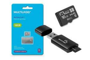 PEN DRIVE - CARTAO DE MEMORIA 2 X 1 16 GB MC 162 PRETO MULTILASER UND