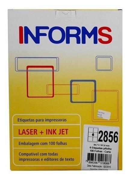 Etiqueta 2856 84,7 x 101,6mm 100 folhas com 6 unidades Informs caixa