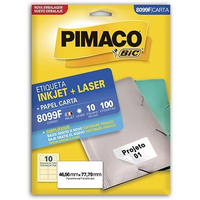 ETIQUETA INKJET E LASER 46,56 MM X 77,79 MM 8099F C/10 ETIQ FLS PIMACO PCT 10 FLS