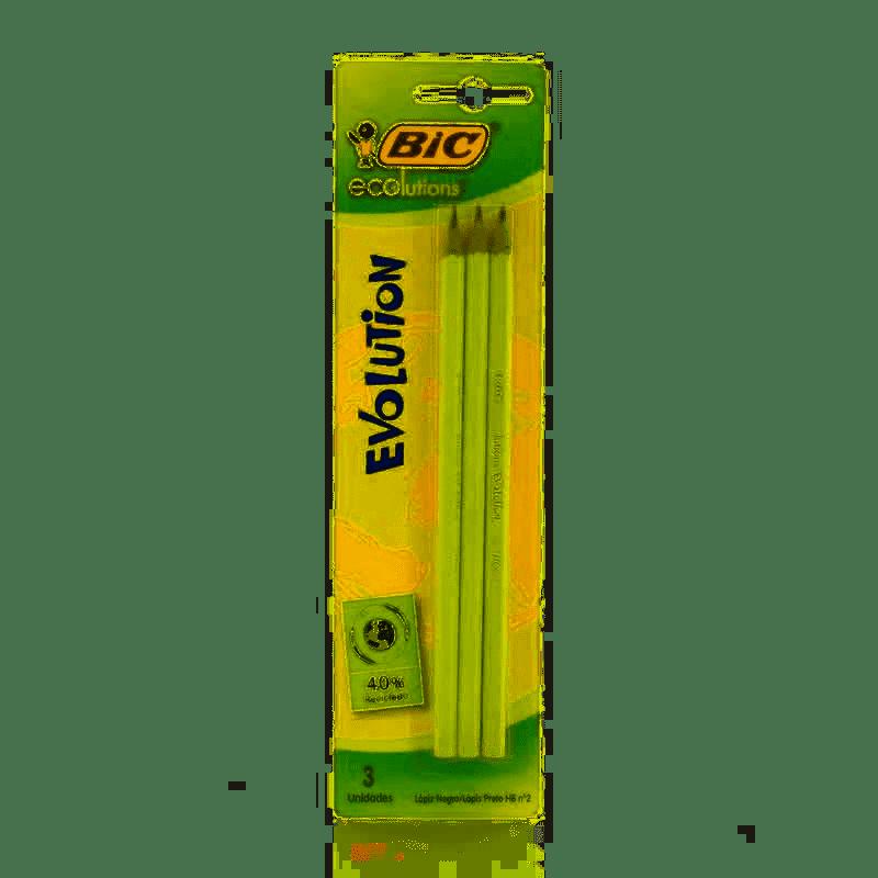 Lápis preto N 2 HB ECO Evolution hexagonal BIC cartela com 03 unid.