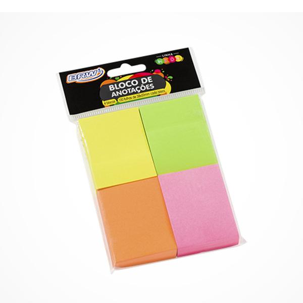 Bloco de anotações 38mm x 51mm 100 folhas cores neon BRW unid.