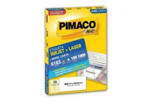 ETIQUETA INKJET E LASER 50,8 MM X 101,60 MM 6183 PIMACO PCT 100 FLS