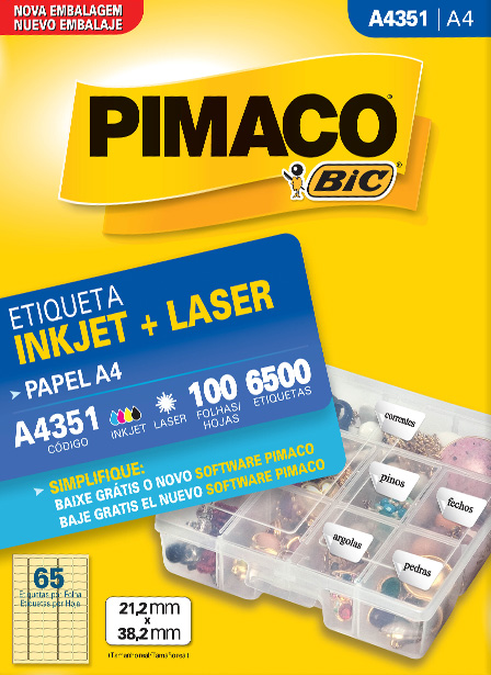 Etiqueta Inkjet e laser A4 351 Pimaco pacote 100 folhas