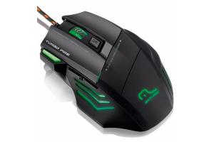 Mouse Gamer 3200 DPI Warrior 7 botões Laser USB Multilaser MO207 unid.