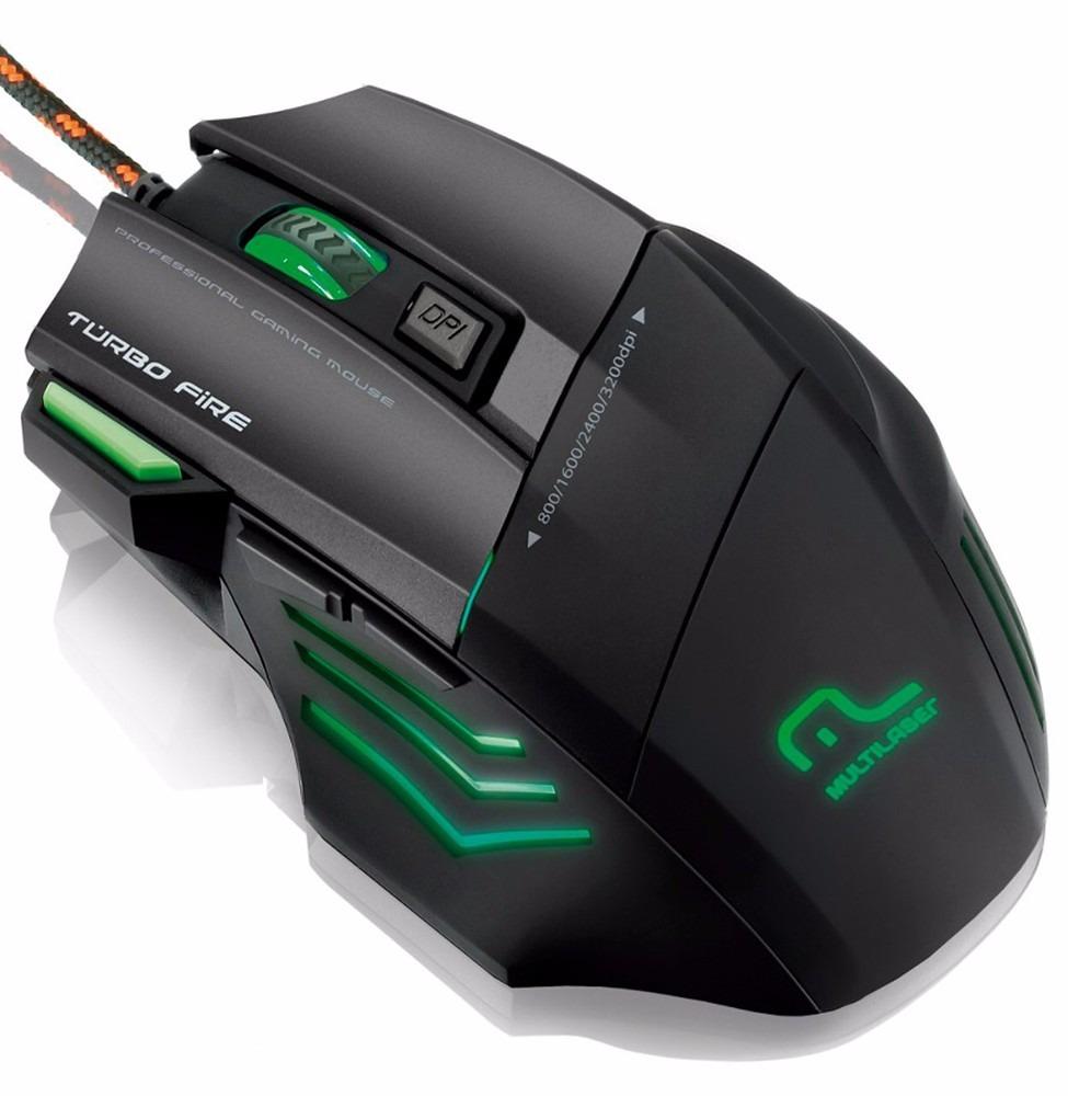 Mouse Gamer 3200 DPI Warrior 7 botões Laser USB Multilaser MO207 unid.