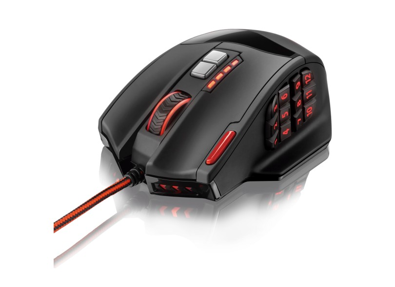 Mouse Gamer Warrior 4000 DPI Óptico 18 botões USB Multilaser MO206 unid.