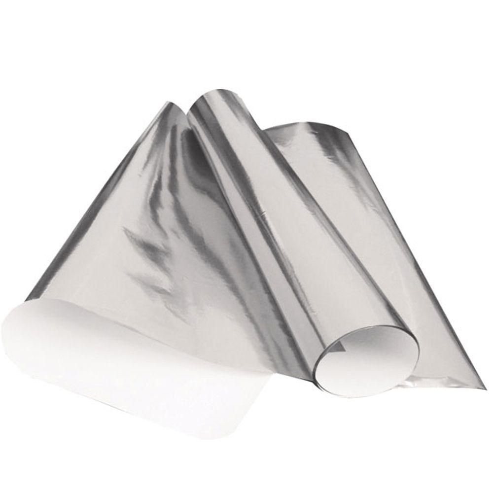 Papel cartolina laminada 48 x 60 Prata pacote com 20 folhas