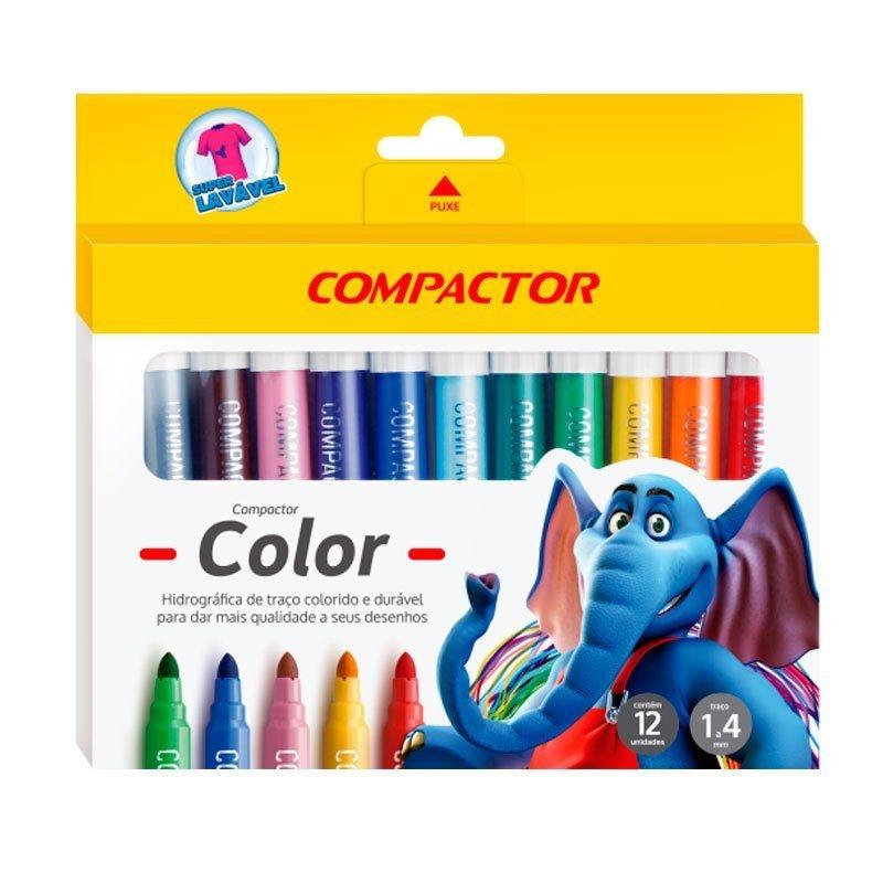 Pincel Hidrocor color cores Compactor caixa 12 unid.