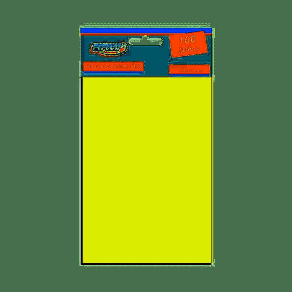 Bloco de anotações 76mm x 102mm 100 folhas amarelo pastel BRW unid.