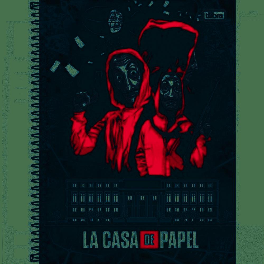 Caderno capa dura universitário 80 folhas La Casa de Papel Tilibra unid.