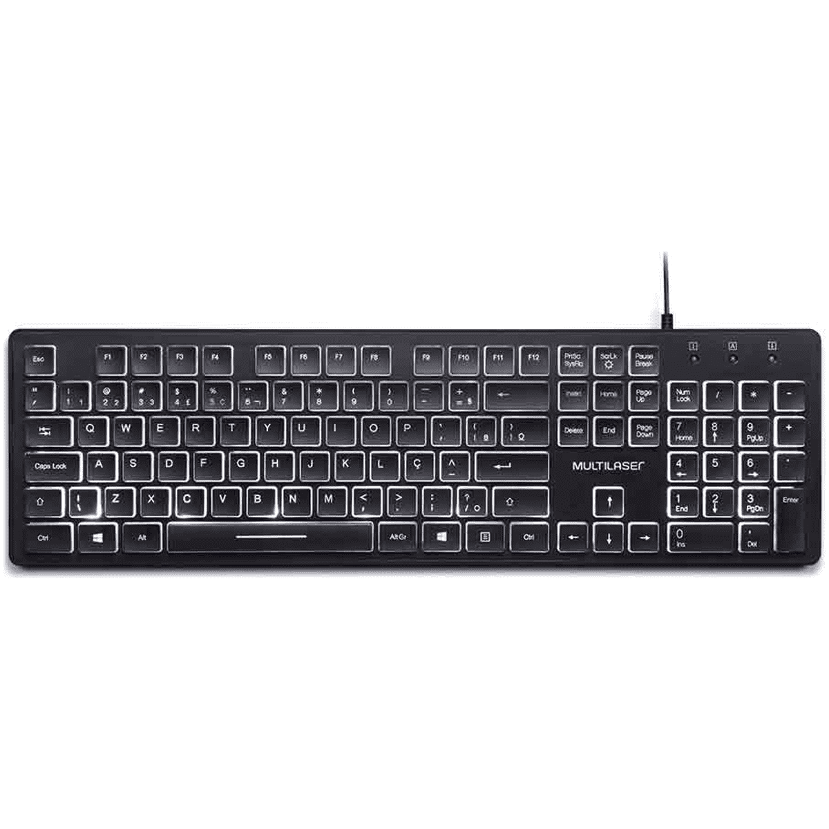 Teclado Office com LED branca TC218 preto Multilaser unid.