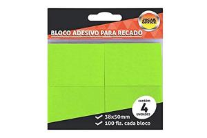 Bloco de anotações 38 x 50 com 100 folhas Jocar Office 91122 Verde pacote com 4 unidades