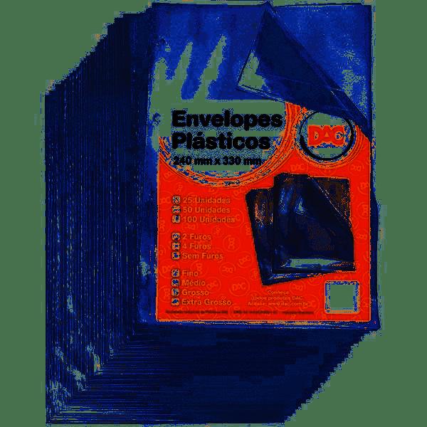 Plástico para pasta catalogo 4 furos 240 x 330 Ofício grosso DAC pacote 50 unid.