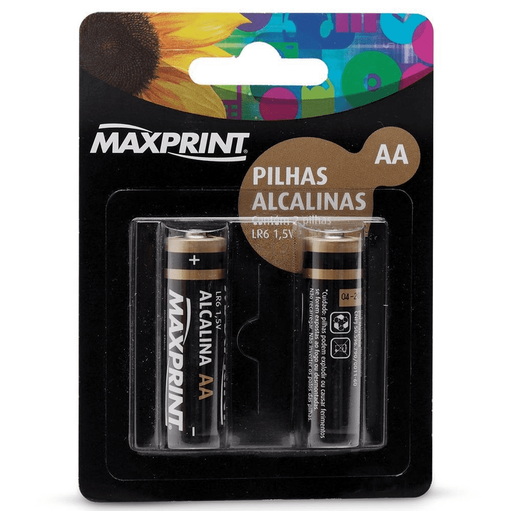 Pilha Alcalina pequena AA 1,5V LR6 75633-9 Maxprint pacote com 2