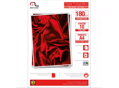 Papel Glossy Paper A-4 210 x 297 pacote com 10 folhas 180g Multilaser PE030 unid.