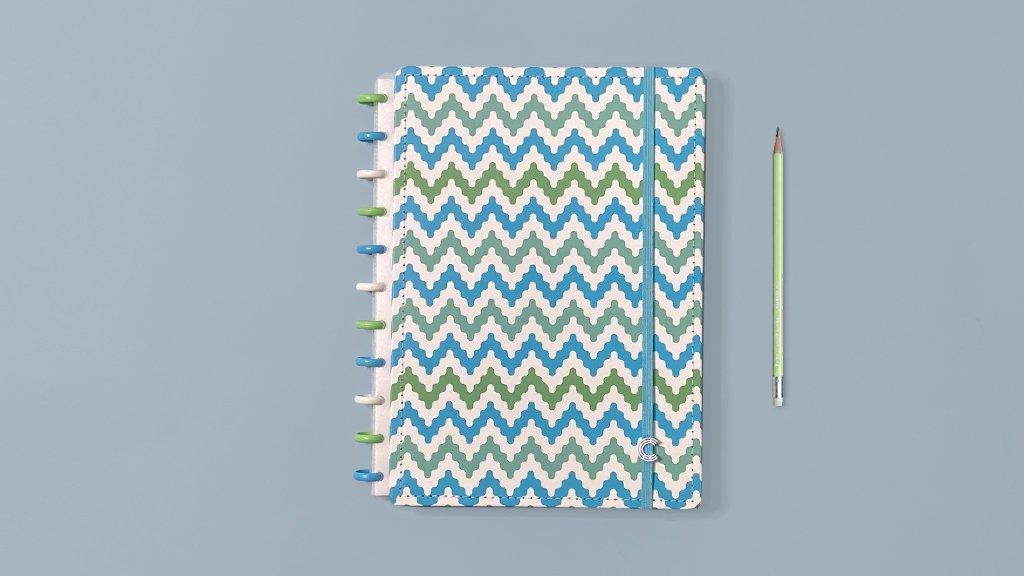 Caderno Inteligente A5 capa dura universitário 60 folhas Waves Ambras