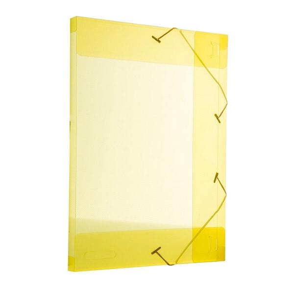 Pasta com aba e elástico transparente 1003-07 30mm amarela Alaplast unid.