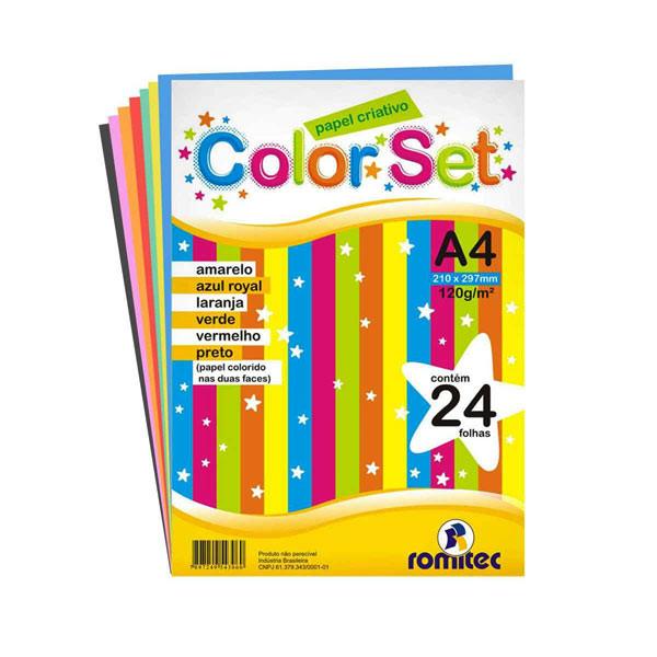 Papel criativo colorido color set com 24 folhas 120g Romitec unid.